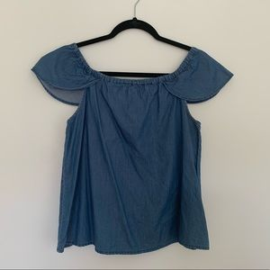 J.Crew Off The Shoulder Chambray Shirt
